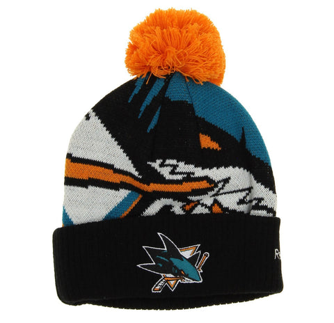 Reebok NHL Youth San Jose Sharks Cuffed Pom Knit Hat, One size