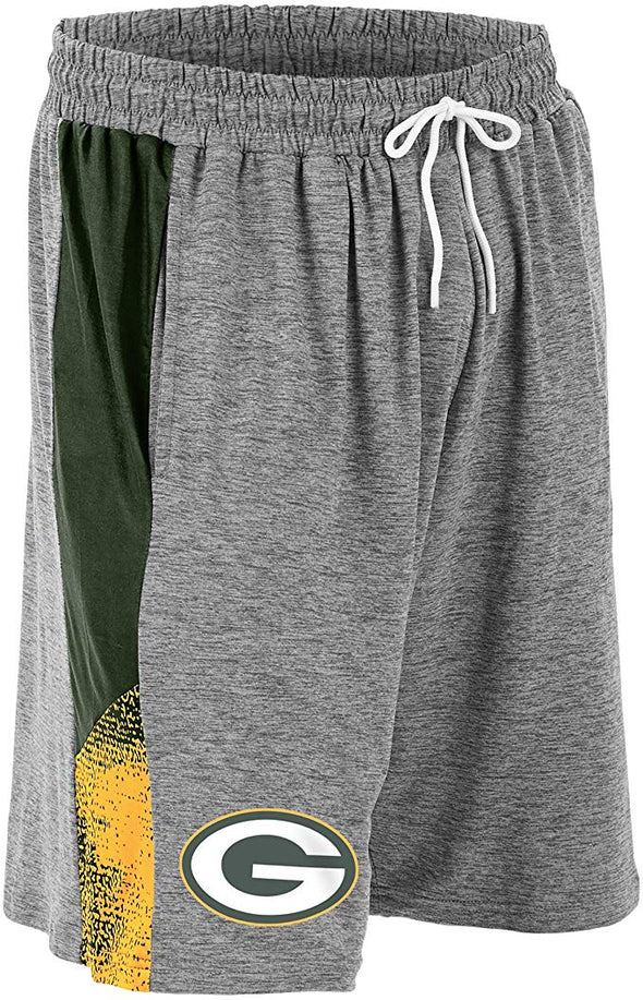 Zubaz NFL Football Mens Green Bay Packers Gray Space Dye Shorts