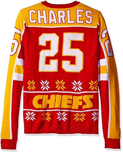 KLEW NFL Men's Kansas City Chiefs Jamaal Charles #25 Ugly Sweater
