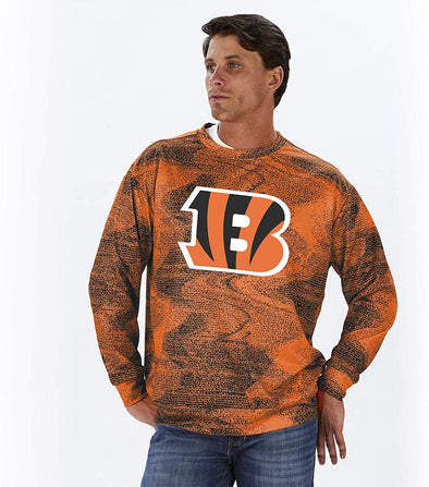 Zubaz NFL Football Men's Cincinnati Bengals Static Crew Neck Sweatshirt
