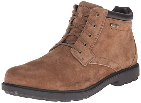 Rockport Men's Storm Surge Waterproof Plain Toe Chukka Lace Up Boots, Brown