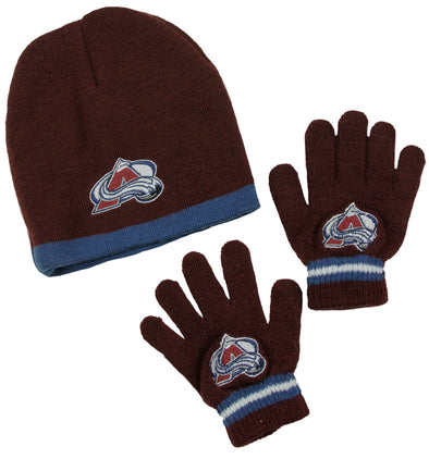 Colorado Avalanche NHL Little Boys Knit Hat and Gloves Set - Maroon