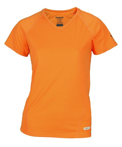 Reebok Speedwick Womens Athletic Fitted Tee Shirt, Orange