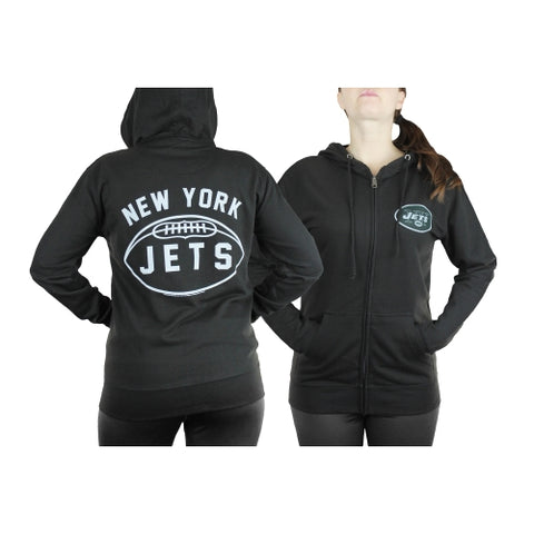 New York Jets NFL Womens Double Coverage Full Zip French Terry Hoodie, Black