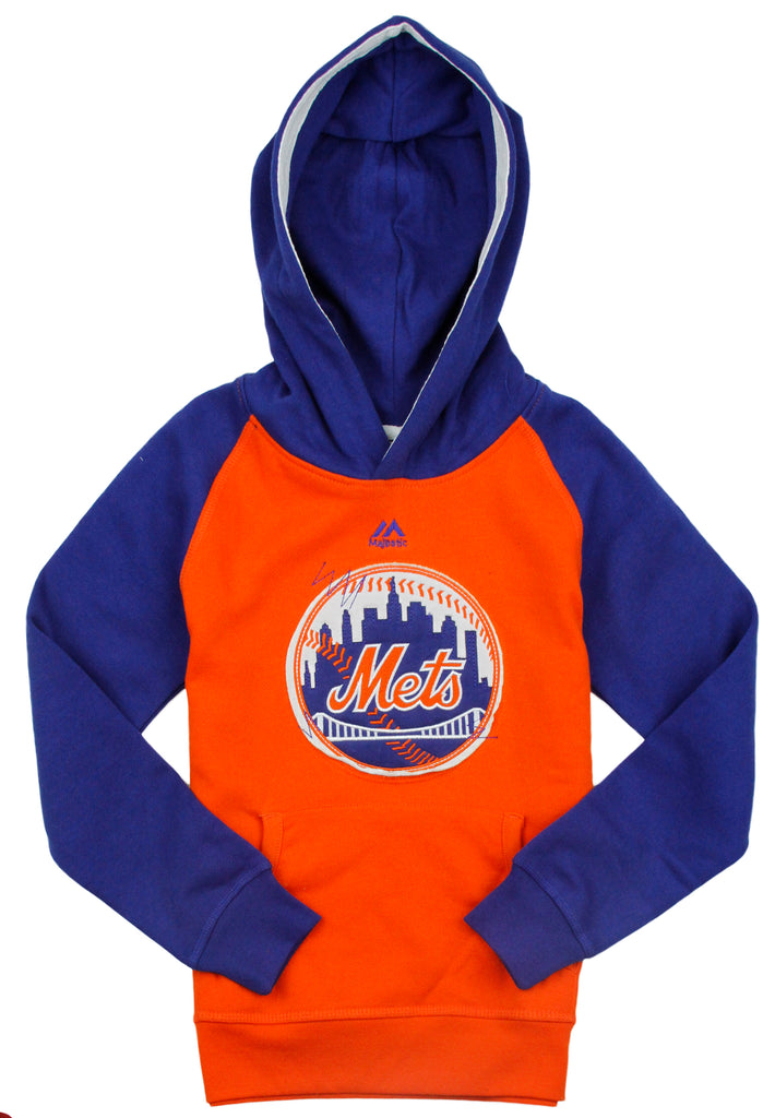 reputable site c86ba 3a228 Majestic MLB Baseball Youth New York Mets Pennant Fleece Hoodie - Blue /  Orange