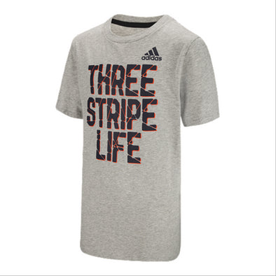 adidas Big Boys Youth Three Stripe Life Tee, Grey, Medium
