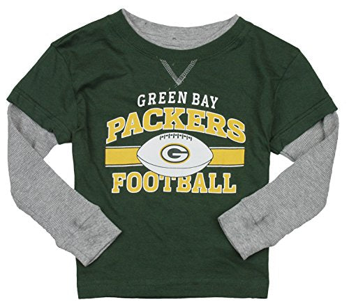 NFL Football Toddlers Green Bay Packers Long Sleeve Faux Layered Shirt 93b1605f0