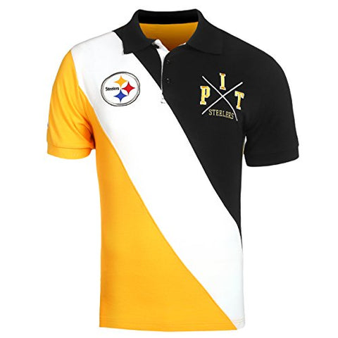 KLEW NFL Football Men's Pittsburgh Steelers Rugby Diagonal Stripe Polo Shirt