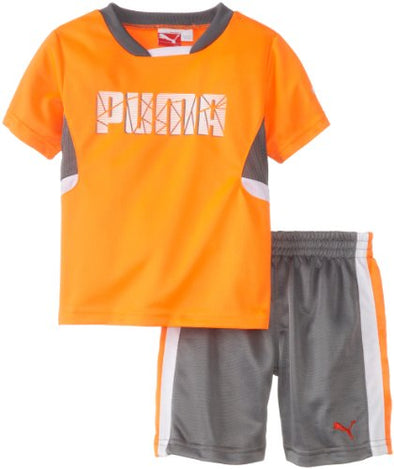 PUMA Infant Baby Boys Shatter Set - Shorts and T-Shirt - Shocking Orange
