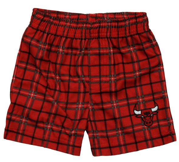 Genuine Stuff NBA Basketball Toddlers Chicago Bulls Plaid Shorts - Red