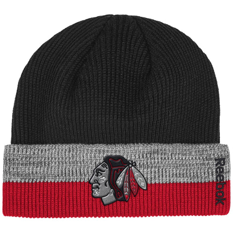 Reebok NHL Unisex Adult Chicago Blackhawks Cuffed Knit Beanie
