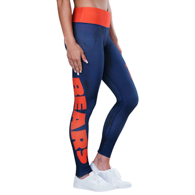 Forever Collectibles NFL Women's Chicago Bears Marble Wordmark Leggings