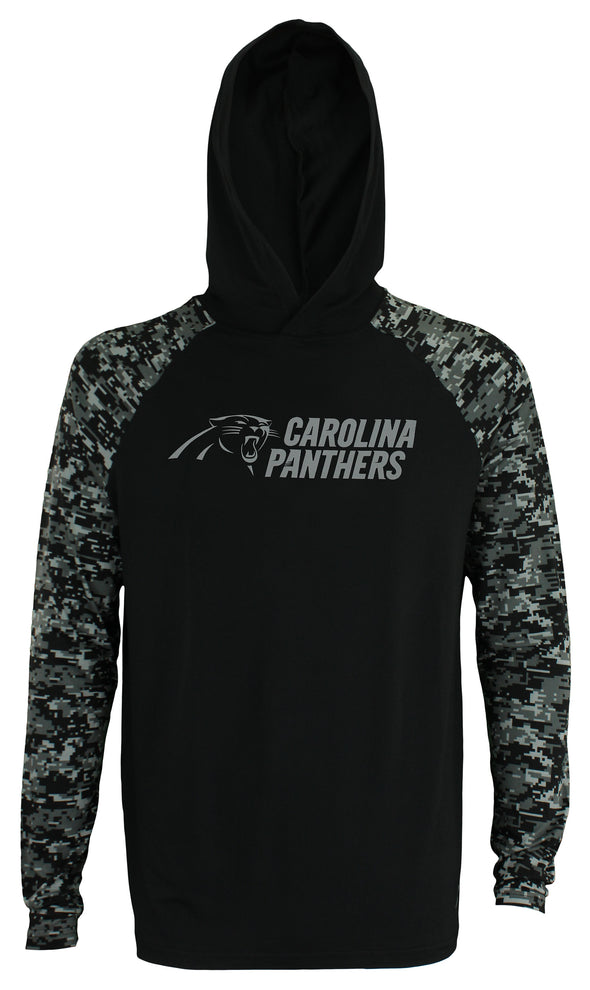 Zubaz Men's NFL Carolina Panthers Solid Body Digital Camo Hoodie