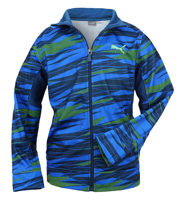 PUMA Boys' Printed Tech Track Jacket, Poseidon