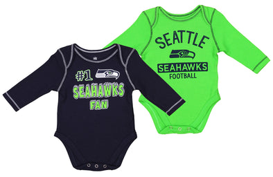 OuterStuff NFL Newborn and Infant 2 Piece Creeper Set, Seattle Seahawks