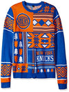 Klew NBA Men's New York Knicks Patches Ugly Sweater, Blue