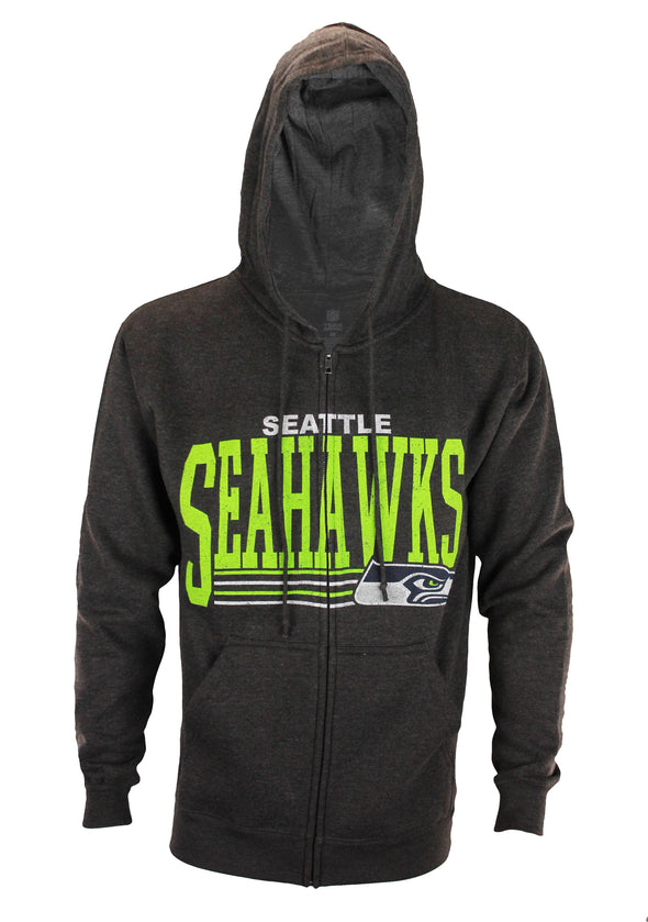 Seattle Seahawks NFL Football Men's Fade Route Full Zip Fleece Hoodie, Grey