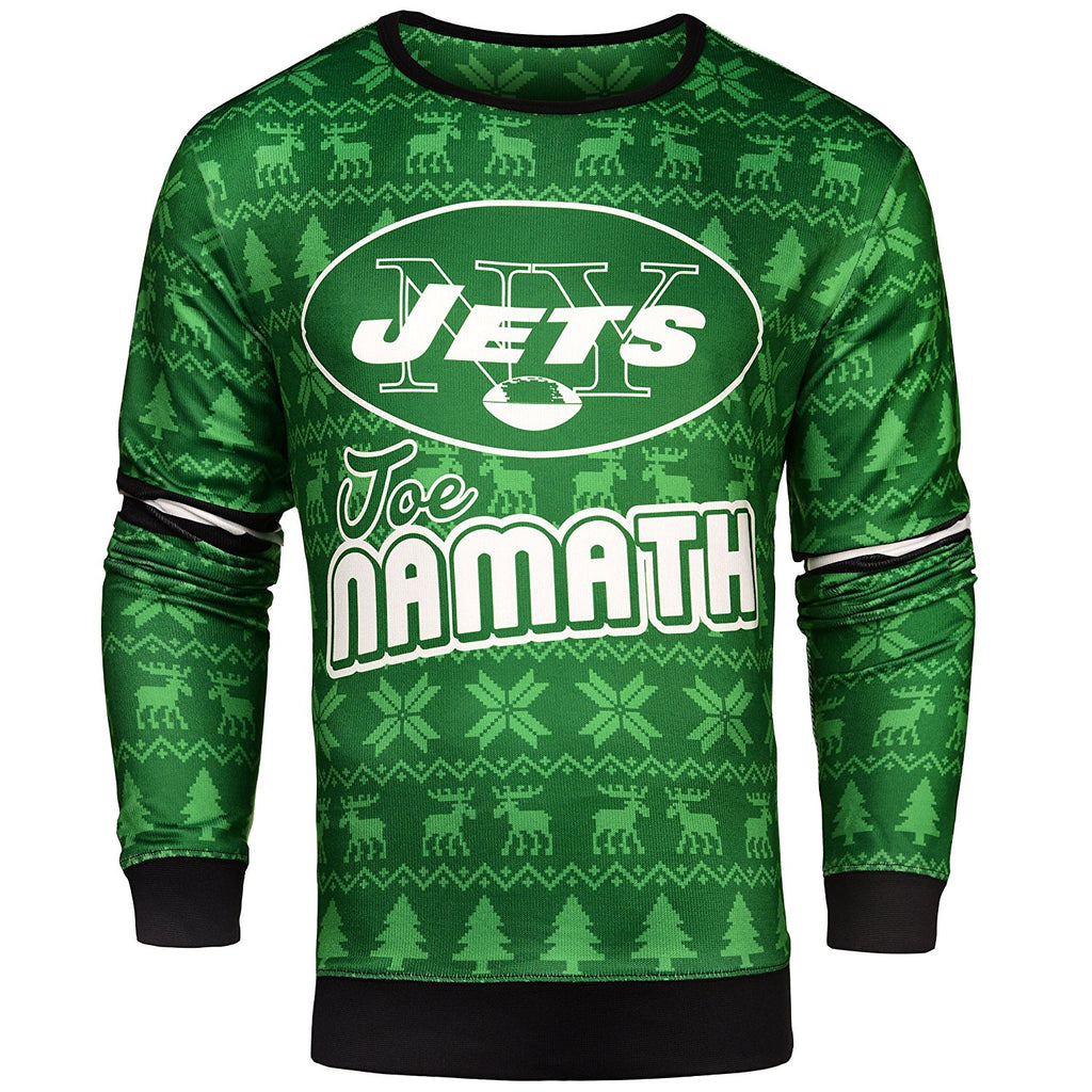 NFL Men's New York Jets Joe Namath #12 Retired Player Ugly Sweater
