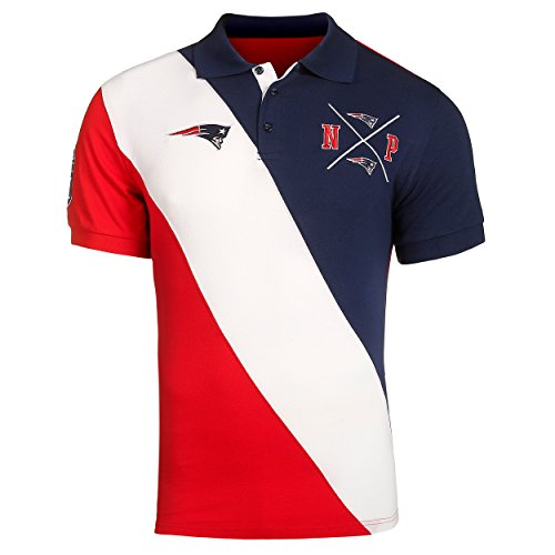KLEW NFL Football Men's New England Patriots Diagonal Rugby Stripe Polo Shirt