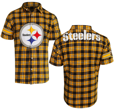 Forever Collectibles NFL Men's Pittsburgh Steelers Color Block Short Sleeve Flannel