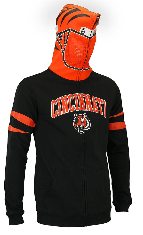 NFL Youth Cincinnati Bengals Full Zip Helmet Masked Hoodie, Black / Orange
