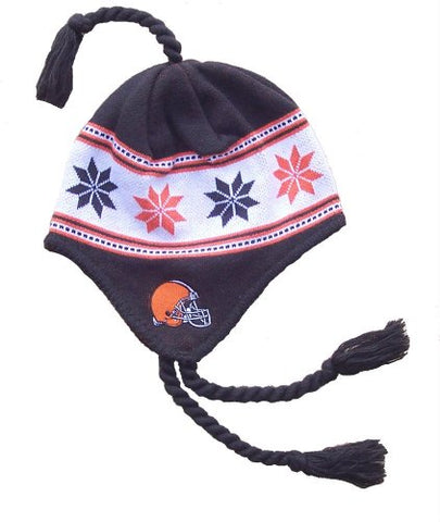 Cleveland Browns Knit Beanie With Tassels Hat Cap Team Colors