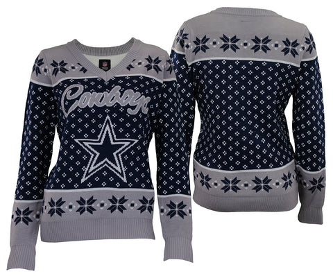 Forever Collectibles NFL Women's Dallas Cowboys Big Logo V-Neck Sweater