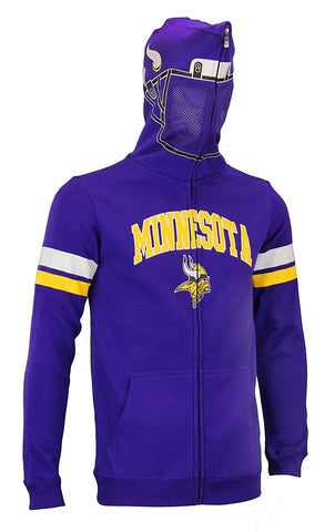 NFL Youth Minnesota Vikings Full Zip Helmet Masked Hoodie, Purple / Yellow