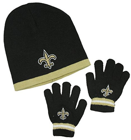 New Orleans Saints NFL Little Boys Knit Hat and Gloves Set - Black (Kids 4-7)