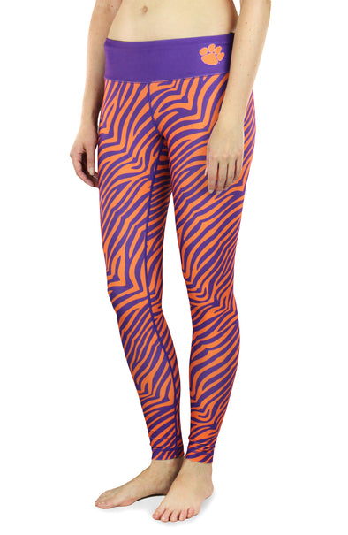 NCAA Women's Clemson Tigers Thematic Print Leggings, Purple