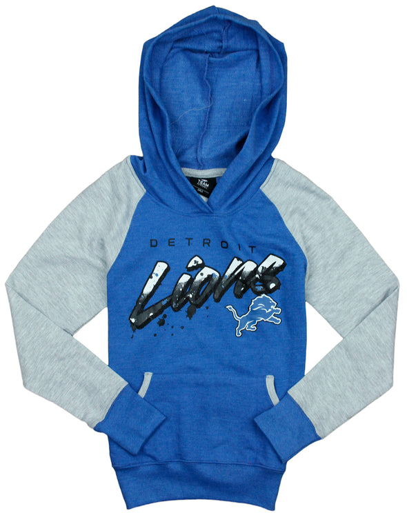 NFL Youth Girl's Detroit Lions Crafted Pullover Sweatshirt Hoodie, Blue