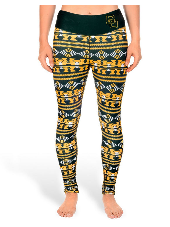 NCAA Women's Baylor Bears Aztec Print Leggings, Green