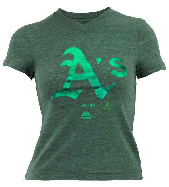 Outerstuff MLB Youth Girl's Oakland Athletics Tri-blend Slider Tee