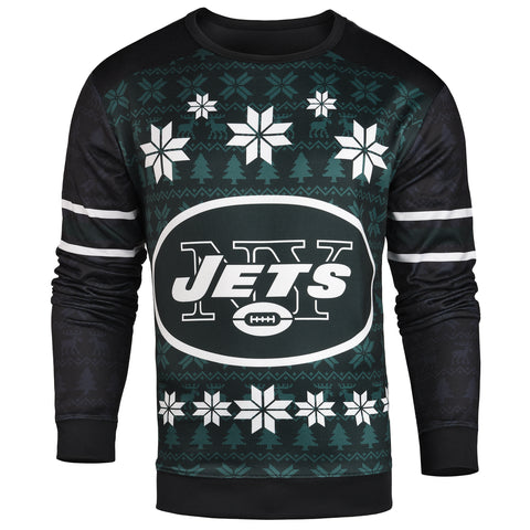 Forever Collectibles NFL New York Jets Men's Printed Ugly Sweater, Green
