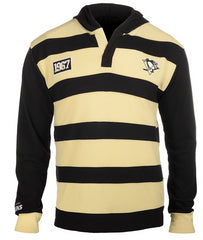 KLEW NHL Men's Pittsburgh Penguins Striped Rugby Pullover Hoodie, Black / Tan