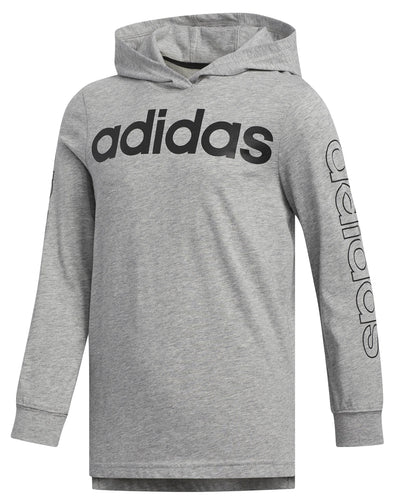 adidas Boys Kids Hooded Linear Long Sleeve Tee, Medium Grey Heather Size 5