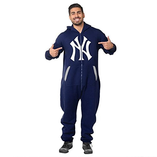 Forever Collectibles MLB Unisex New York Yankees Logo One Piece Jumpsuit, Navy