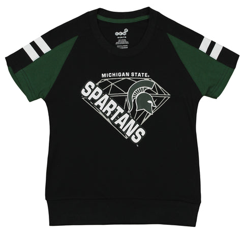 Gen2 NCAA Youth Girl's Michigan State Spartans Bejeweled Banded Bottom Tee