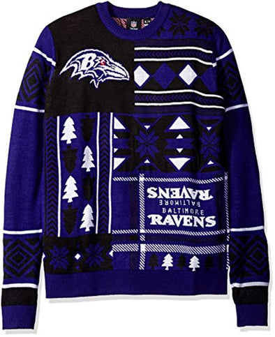 Klew NFL Men's Baltimore Ravens Patches Ugly Sweater, Black/Purple