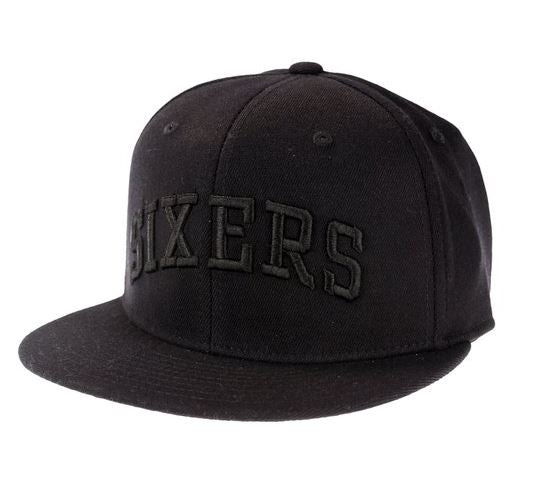 b63d99bb4d0 Adidas NBA Basketball Philadelphia 76ers Black Out Fitted Hat Cap ...
