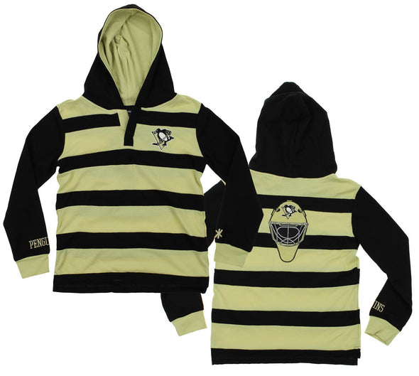 KLEW NHL Youth Pittsburgh Penguins Striped Rugby Pullover Shirt
