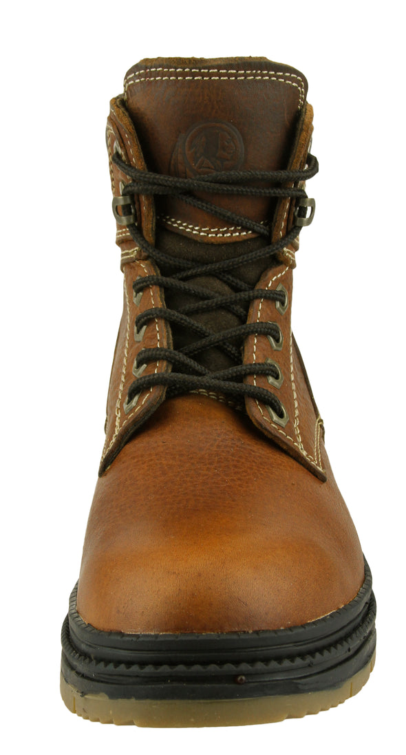 NFL Men's Washington Redskins Rounded Steel Toe Lace Up Leather Work Boots - Brown