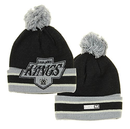 NHL Reebok Los Angeles Kings Youth Deke Cuffed Knit Winter Hat With Pom,Black