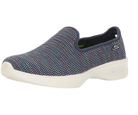 Skechers Women's Go 4 Slip On Walking Shoe, Navy / Multi