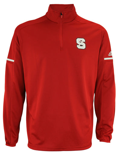 adidas NCAA Men's North Carolina State Wolfpack Team Logo 1/4 Zip Pullover, Red