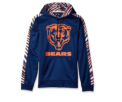 Zubaz Men's NFL Chicago Bears Pullover Hoodie With Zebra Accents
