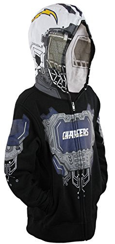 NFL Football Youth San Diego Chargers Full Zip Masked Sweatshirt Hoodie, Black