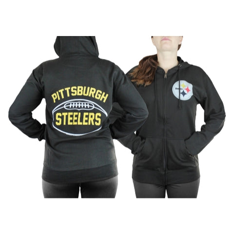 Pittsburgh Steelers NFL Womens Double Coverage Full Zip French Terry Hoodie
