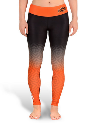 NCAA Women's Oklahoma State Cowboys Gradient Print Leggings, Black