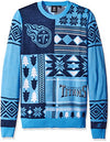 Klew NFL Men's Tennessee Titans Patches Ugly Sweater, Blue